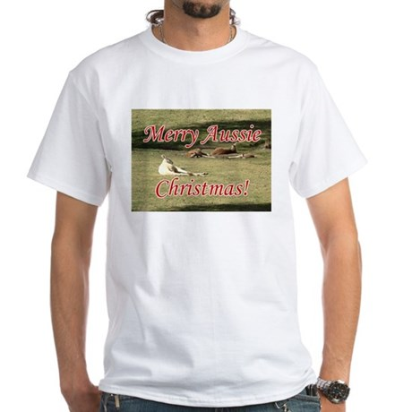 Kangaroos Christmas White T-Shirt