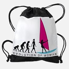 evolution of woman female surfer Drawstring Bag