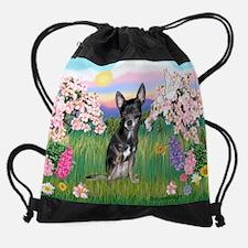 Cute Blue and tan chihuahua Drawstring Bag