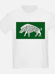 Celtic Knotwork Boar, White on Green T-Shirt