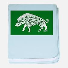 Celtic Knotwork Boar, White on Green baby blanket