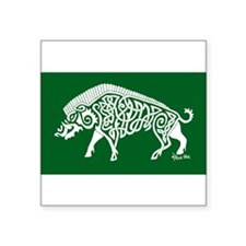 Celtic Knotwork Boar, White on Green Sticker
