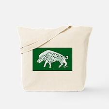 Celtic Knotwork Boar, White on Green Tote Bag