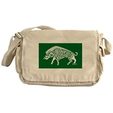 Celtic Knotwork Boar, White on Green Messenger Bag