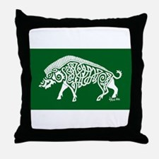 Celtic Knotwork Boar, White on Green Throw Pillow