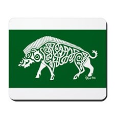 Celtic Knotwork Boar, White on Green Mousepad