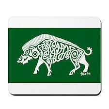 Celtic Knotwork Boar, White on Green Mousepad