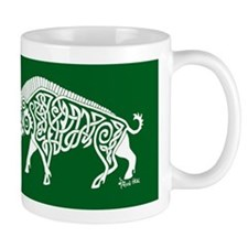 Celtic Knotwork Boar, White on Green Mug