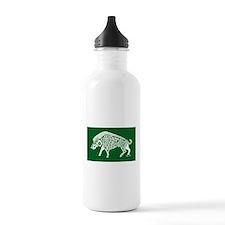 Celtic Knotwork Boar, White on Green Water Bottle