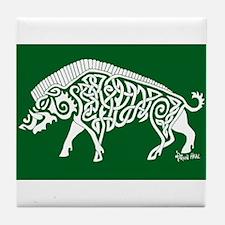 Celtic Knotwork Boar, White on Green Tile Coaster