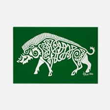 Celtic Knotwork Boar, White on Green Rectangle Mag