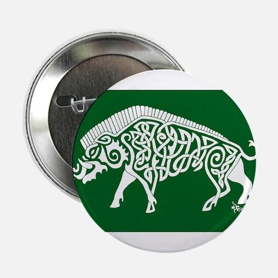 "Celtic Knotwork Boar, White on Green 2.25"" Button"