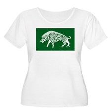 Celtic Knotwork Boar, White on Green Plus Size T-S