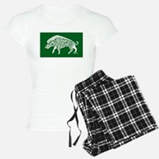 Celtic Knotwork Boar, White on Green Pajamas