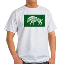 Celtic Knotwork Boar, White on Green T-Shirt