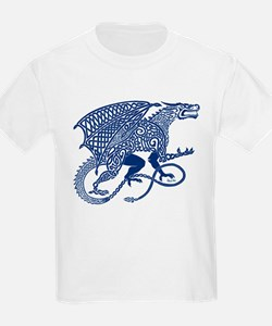 Celtic Knotwork Dragon, Blue T-Shirt
