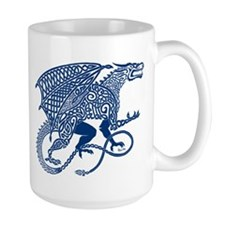 Celtic Knotwork Dragon, Blue Mug