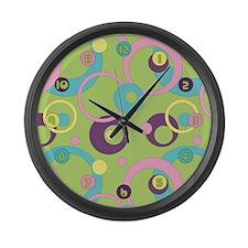 Funky Green Circles Large Wall Clock