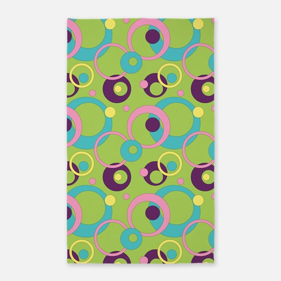 Funky Green Circles 3'x5' Area Rug