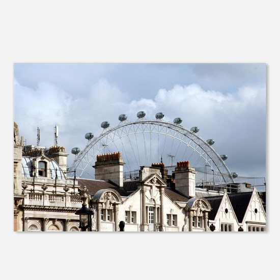 """""""The London Eye"""" over rooftops Postcards (Package"""
