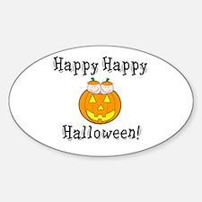 Happy Happy Halloween Oval Decal