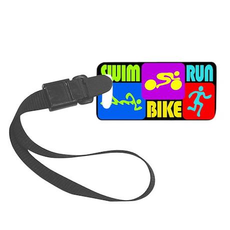 TRI Swim Bike Run Figures Luggage Tag