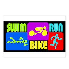 TRI Swim Bike Run Figures Postcards (Package of 8)