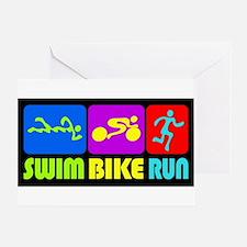 TRI Swim Bike Run Figures Greeting Card