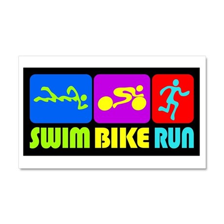TRI Swim Bike Run Figures Car Magnet 20 x 12