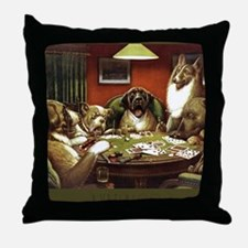 Waterloo Dog Poker Throw Pillow