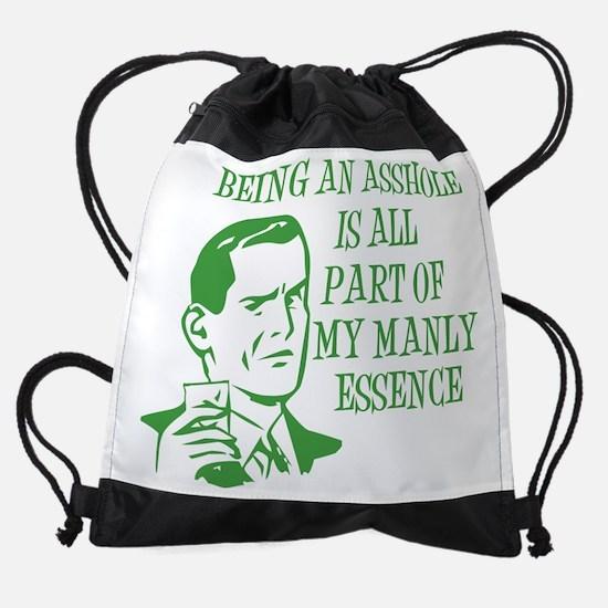 BeingAssholeManlyEssence-grn.png Drawstring Bag