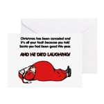 Christmas Is Cancelled Joke Greeting Cards (Pk of