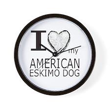 White Heart Amer Eskimo Wall Clock