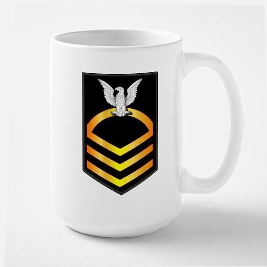 Navy - CPO - Rank - Gold Large Mug