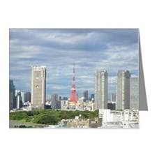 Cityscape with Tokyo tower a Note Cards (Pk of 20)