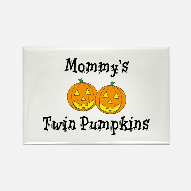 Mommy's Twin Pumpkins Rectangle Magnet