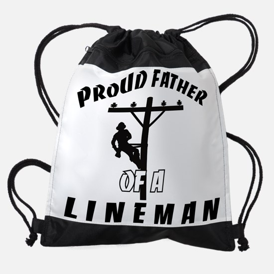 proud father of a lineman.png Drawstring Bag