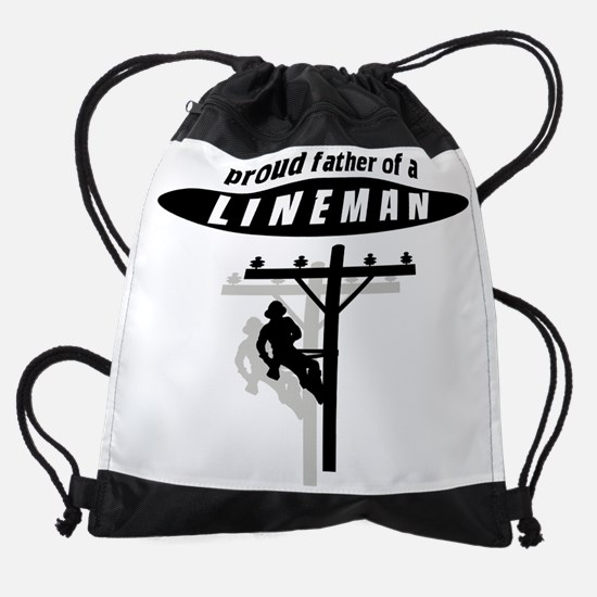 proud father of a lineman with shad Drawstring Bag