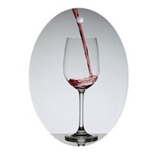 Wine pouring into wine glass Ornament (Oval)