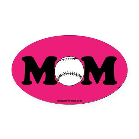 Baseball Mom Oval Car Magnet