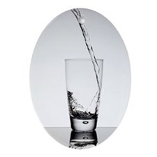 Water pouring into glass Ornament (Oval)