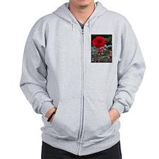 Red Flower Zip Hoodie