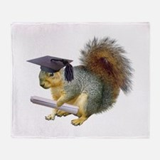 Squirrel Graduation Throw Blanket