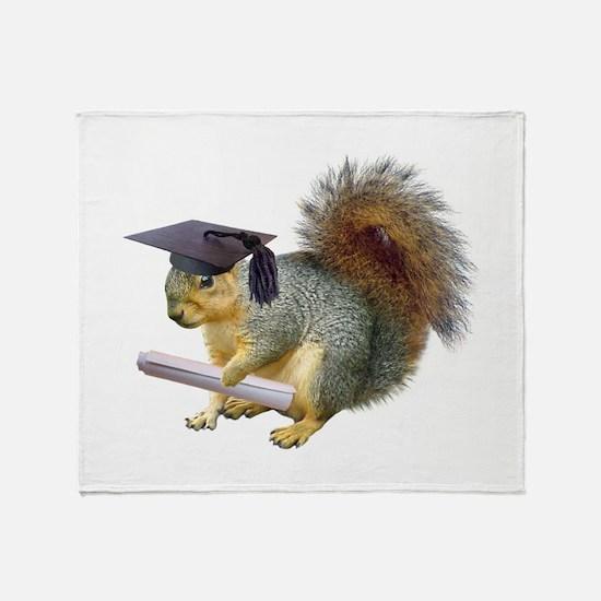 Squirrel Graduation Throw Blanket