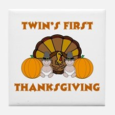 Twin's First Thanksgiving Tile Coaster
