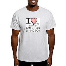 Red Heart Mini Amer Eskimo Ash Grey T-Shirt