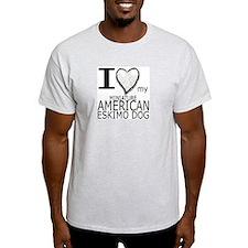 White Heart Mini Amer Eskimo Ash Grey T-Shirt
