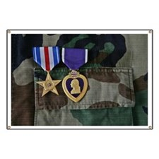 Silver Star and Purple Heart medals pinned  Banner