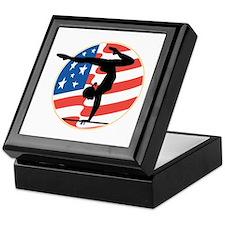 USA Stars and Stripes Gymnastics Design Tile Box
