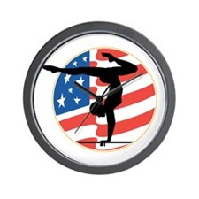 USA Stars and Stripes Gymnastics Design Wall Clock